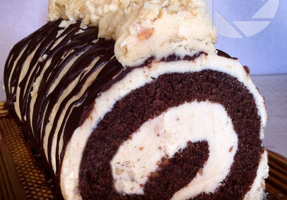 Chocolate roll with peanut butter